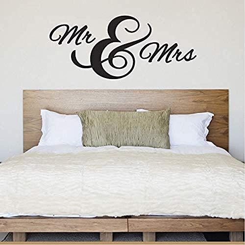 Qixidan Mr & Mrs Wandaufkleber Vinyl Abnehmbare Hochzeit Wandtattoo Geschenk Für Jubiläum Home Schlafzimmer Design Dekoration Kunst Wandbild 57X25cm -