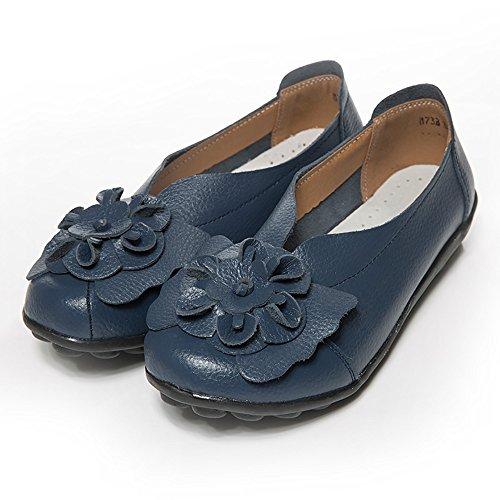 MakefortuneFrauen Blumen Leder Mokassins Casual Slip-on Loafer Bootsschuhe Driving Schuhe Sandalen Größe