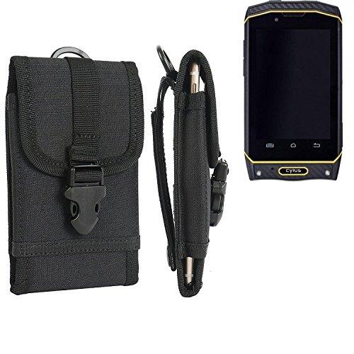 K-S-Trade Handyhülle für Cyrus CS 19 Gürteltasche Handytasche Gürtel Tasche Schutzhülle Robuste Handy Schutz Hülle Tasche Outdoor schwarz