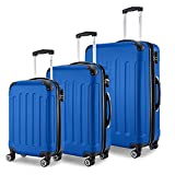 SHAIK® Serie BUTTERFLY, FRA 3 Größen, M | L | XL | Set | 45/78/124 Liter Zahlenschloss (Blau, 3er Set)