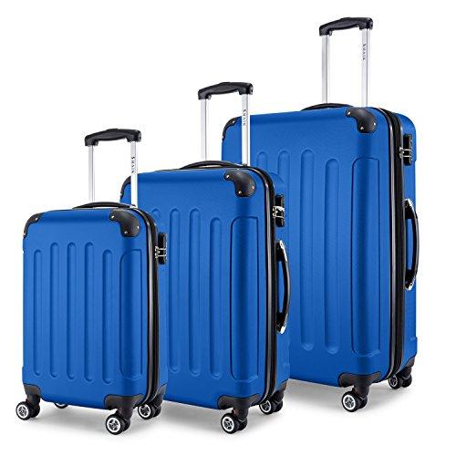 SHAIK® Serie BUTTERFLY, FRA 3 Größen, M | L | XL | Set | 45/78/124 Liter Zahlenschloss (Blau, 3er Set) (Rolling Vertical Case Laptop)