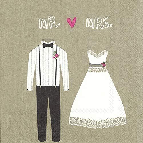 Miss Lovely Hochzeitsservietten MR & MRS Brautkleid & Anzug Motiv-ServiettenTisch-Dekoration Hochzeits-Deko Zubehör & Accessoires Candy-Bar 20 Servietten