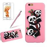 Girlyard Hülle für iPhone 6S Plus - Weich TPU Silikon Schutzhülle Niedlichen 3D Panda Muster Entwurf Schale Tasche Flexible Gummi Dünn Etui Matt Cover Anti-Stoß Kratzfeste für Apple iPhone 6 Plus/ iPhone 6S Plus (5,5 Zoll) Rosa