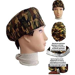 OP-Haube Camouflage kurze Haare, Chirurgie, Zahnarzt, Tierarzt, Koch. Handtuch vorne und einstellbarer Spanner nach Geschmack