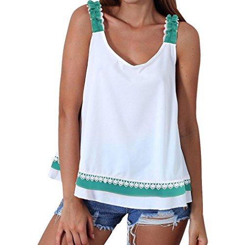 TWBB Damen Vintage T Shirt O-Ausschnitt ausgestellter A-Form Ärmellos rückenfrei Bogen Tank Tops Oberteile Hemd Ohne Ärmel Blusen (Asiatische XL, Grün)