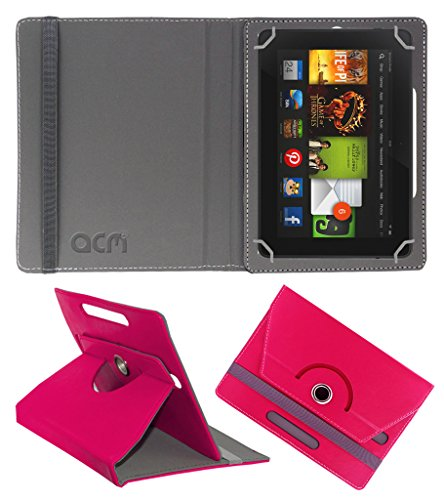 Acm Rotating 360° Leather Flip Case For kindle Fire Hd 7 2012 2nd Gen Tablet Cover Stand Dark Pink  available at amazon for Rs.149