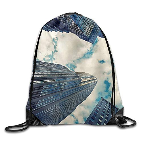 HLKPE Cityscape Building Clouds Landscape Drawstring Bag for Traveling Or Shopping Casual Daypacks School Bags -