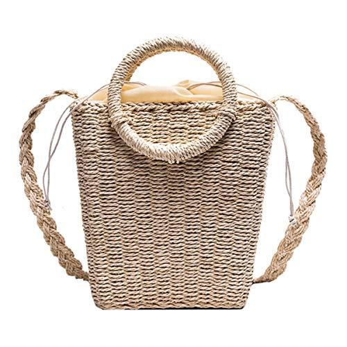 Peng Sheng Strohtaschen Damen Stroh Tasche korbtasche Reine handgemachte spinnende Schultertasche neue Retro Art-Stroh umsponnene gesponnene Beutel-Reise-Riemen-Beutel-Schulter-Beutel-Handtaschen