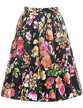 Falda Plisada Estampada Floral/a Lunares Cintura Alta Vintage de Años para Mujeres ES6294