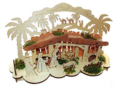 3D Krippe LED Weihnachten Deko Weihnachtsdeko Fensterdeko Holz 30cm