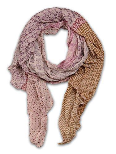 Baumwoll Schal in alt-rosa mit buntem Mustermix, XXl Überlänge Oversize Tuch Nr.17101 (Ravenclaw Hat Schal)