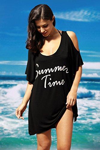 Yiyada Frauen Sommer Kalt Schulter Höhle aus Casual Shirt Kleid Cover-up Kleid Badeanzug Bademode Pareos Strandkleider Schwarz