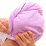 Chickwin~arc cheveux microfibre seche rapidement serviette enroulee de bonnet de bain (Pourpre)
