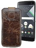 Suncase ECHT Ledertasche Leder Etui für BlackBerry DTEK 60 Tasche (mit Rückzugsfunktion) in rustic-tabak braun