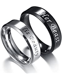 Moneekar Jewels 2pcs His Beauty Her Beast High Quality 316L Stainless Steel Couple Rings For Lovers