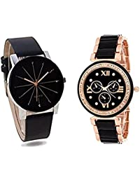 Analogue Black Dial Metal And Lether Belt Watch For Girls And Women