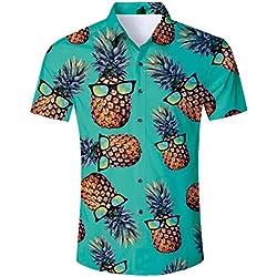 TUONROAD Camisa Hawaiana para Hombre 3D Estampada Hermoso Ananás Gafas Camisas de Playa Modelo Casual Manga Corta Camisas Verano Camisa del Tema en la Fiesta de Bodas Cumpleaños Verde - XL