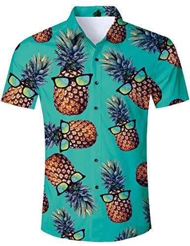 Tuonroad camicia hawaiana uomo funky fantasia ananas 3d stampa vintage verde camicia slim fit manica corta camicia da spiaggia bottone estivo casual shirt - xxl