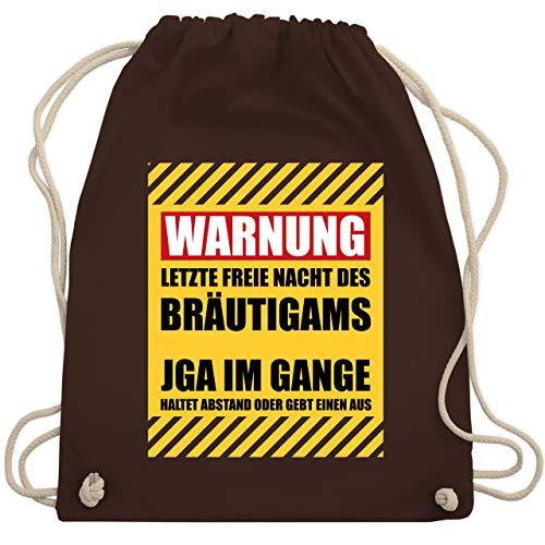 JGA Junggesellenabschied - Warnung letzte freie Nacht des Bräutigams - Unisize - Braun - WM110 - Turnbeutel & Gym Bag