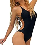 AMUSTER Bademode Bikini Bandeau Push Up One Piece Damen Badeanzug Bandage Bikini Push-up Padded Backless Badebekleidung Monokini Tankini Strand Bikini (XL, Schwarz)
