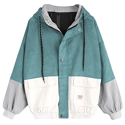 Blue Cord Langarm-shirt (ZAFUL Damen Lässig Stilvolle Langarm Patchwork Cord Kapuzenjacke Reißverschluss Kurzmantel Windbreaker Outwear Blue Green M)
