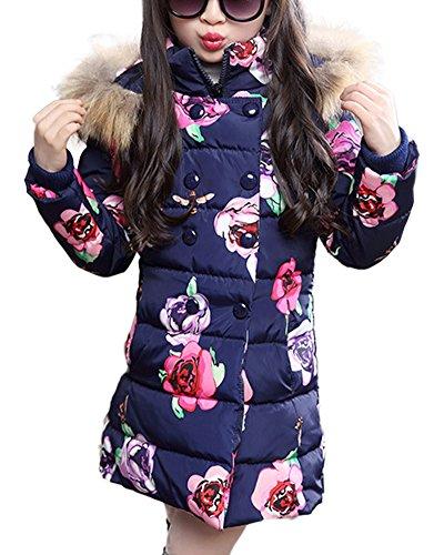 Qitun ragazza giubbotto con cappuccio cappotti casuale capispalla manica lunga invernale parka marina militare 160
