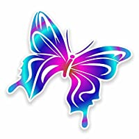 2 x Pretty Butterfly Vinyl Sticker Decal Laptop Car Travel Luggage Label Tag #9594