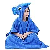 Ele Eleoption spiaggia poncho con cappuccio asciugamano da bagno, leggero in microfibra cotone muta fasciatoio asciugamano poncho accappatoio per bambini, ideale per bambina, 1–7anni Elephant Hooded, Blue