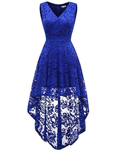 ebe0c5237c4 Dressystar Elegante Mujer Escote V Sin Manga Vestido Cocktail Hi-lo Flor  Encaje Azul Real