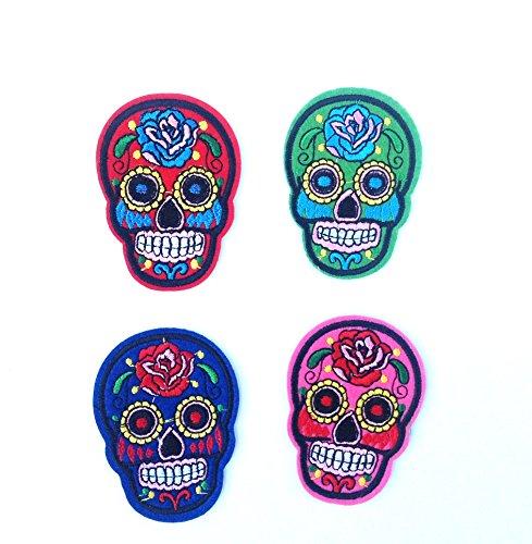 4 parches calavera esqueleto,4 colores, termoadhesiovs bordados...