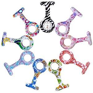 JSDDE Damen Taschenuhr/Schwesternuhr, aus Silikon, Broschenform, mit 9Ersatzhüllen in Verschiedenen Designs, inkl. 9Ersatzbatterien