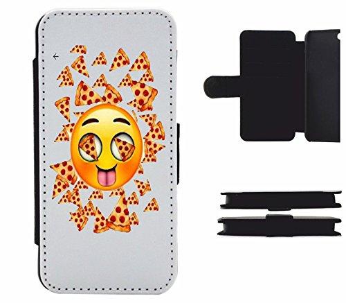 """Leder Flip Case Apple IPhone 5/ 5S/ SE """"Pizza Emoji mit glücklichem Gesicht und Hunger """", der wohl schönste Smartphone Schutz aller Zeiten."""