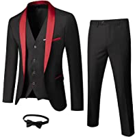 YND Men's 3 Piece Slim Fit Tuxedo Set, One Button Shawl Collar Solid Jacket Vest Pants with Bow Tie