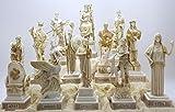 greekartshop Set 12Zwölf Griechisch Olympischen Götter Pantheon Figur Alabaster Statue Skulptur 16cm