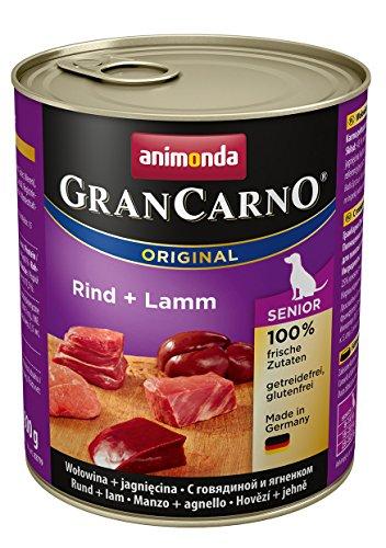 Animonda GranCarno Hundefutter Senior, Nassfutter für ältere Hunde ab 7 Jahren, aus Kalb und Lamm, 6er Pack (6 x 800g)