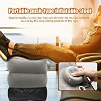 raspbery Foot Rest Cushion 3 Height Adjustable & 60 Seconds Inflation, Foot Pillow for Kids & Adults During Long Haul Flights, Car or Train Travel