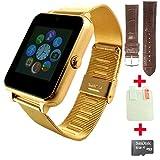 OCTelect Z60 Metal smart watch con cinturino in metallo sostituibile SYNC iphone e telefono Android (gold)