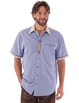 orbis Textil OS-Trachten Trachtenhemd Kurzarm Dominic Blau