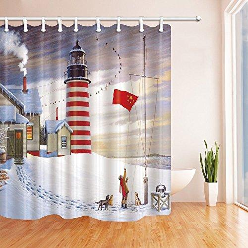 lz Haus und Leuchtturm mit chinesischen Flagge für Kids Vorhänge Polyester-Schimmelresistent-Dusche für Badezimmer Dusche Vorhang Haken enthalten 179,8x 179,8cm rot weiß (Rot Dusche Haken)