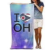 fjfjfdjk I Love Ohio OH Flag 100% Polyester Adults Beach Towels Unisex Bath Towel