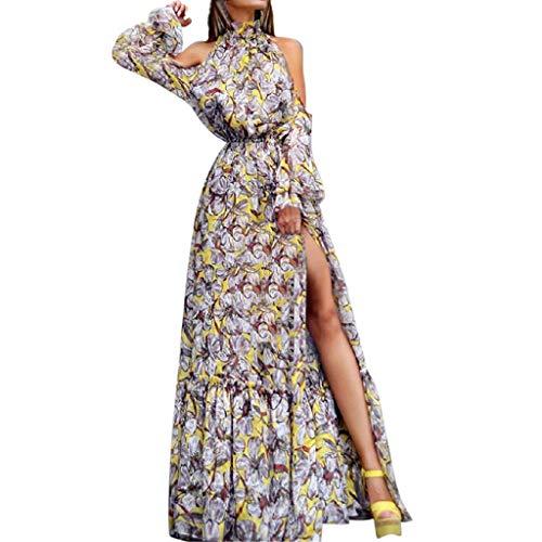 Crylee Damen Maxi Kleid Off Shoulder Abendkleid Strandkleid Party Schulter Kleider Schulterfrei Strand Spielanzug Boho