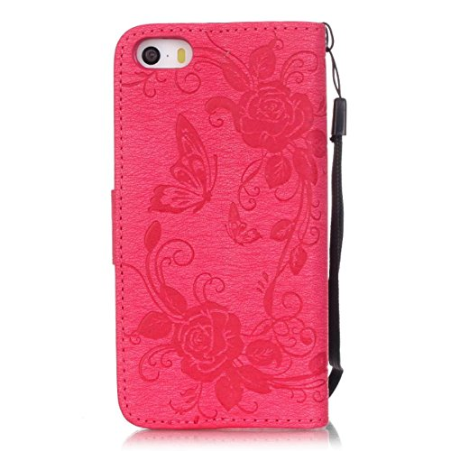 Premium PU-Leder Tasche Cover mit Resine Rhinestone und hängenden Seil Folio Stand Case Embossing Schmetterling Blumen Brieftasche Fall für iPhone 5S SE ( Color : Black , Size : IPhone 5S SE ) Black