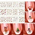 Sunei.f Christmas 3D Nail Art Stickers Decals, New Year Various Sticker/False Nail Manicure Decals Gems Glitter