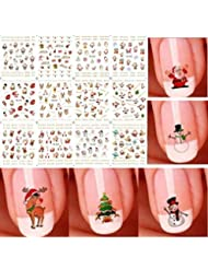 Starworld Christmas 12 Pieces 3D Nail Art Stickers Decals, New Year Various Sticker / False Nail Manicure Decals Gems Glitter Toe Wraps / Random Sending