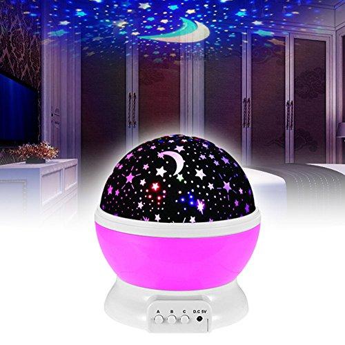 Preisvergleich Produktbild EMOTREE LED Sternenhimmel Nachtlicht Kinder Baby Geschenk Einschlafhilfe Projektor Nachtlampe Kinderzimmer Pink