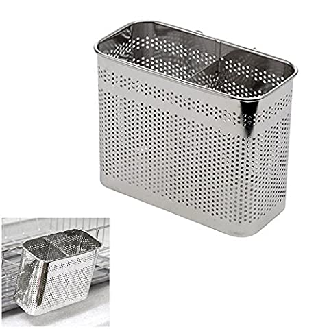 ROUNDSQUARE Kitchen Utensils Drying Rack 2 Compartments Stainless Steel Square Spoon Knife Fork Case Organizer Storage Stand Holder Silver