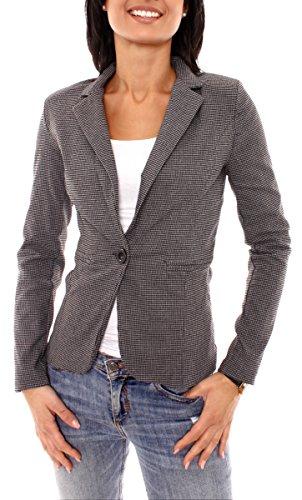 Damen Business Sweat Jersey Blazer Jacke Sweatblazer Jerseyblazer Sakko Kurz Slim Fit Gefüttert Kariert Pepita Muster Grau-Schwarz XS - 34 (S)