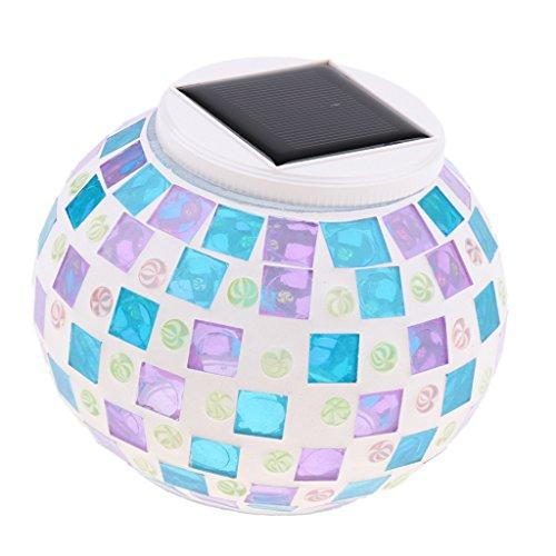 Homyl Solar LED Tischlampe mit buntem Disco-Lichteffekt, RGB Farbwechsel Kugelleuchte Disco-Kugel Dekoleuchte Wasserdicht für Haus Garten Party - Typ 4