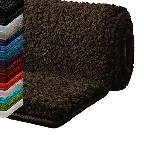 Badematte Hochflor Sky Soft | Weicher, Flauschiger Badezimmerteppich in Shaggy-Optik | Badvorleger rutschfest waschbar | schadstoffgeprüft | 16 Farben in 6 Größen (80x150 cm, braun)