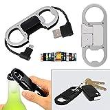 dairyshop tragbar Schlüsselanhänger Schnell Ladegerät Ladekabel Micro USB Sync Daten Kabel Flaschenöffner weiß